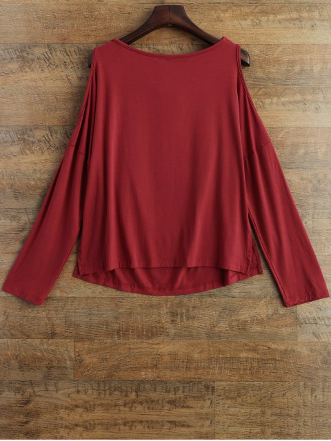 outfits Long Sleeves Cut Out T-Shirt - RED S Mobile