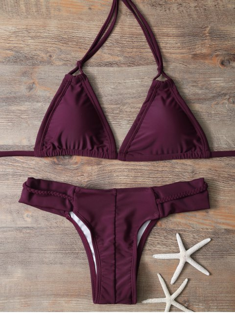 lady Halter Braided Rope Padded Bikini - WINE RED L Mobile