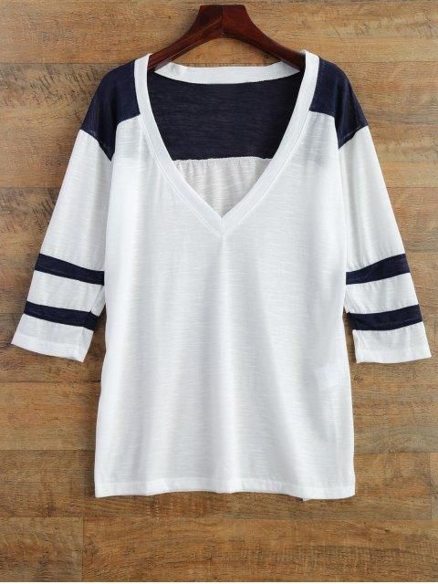 fashion V Neck Color Block Tee - WHITE S Mobile