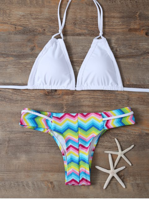 buy Padded Braided Zig Zag Bikini Set - WHITE S Mobile