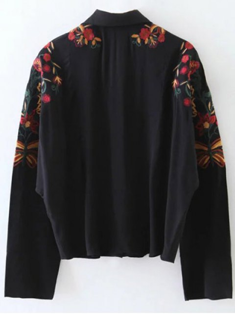 women Casual Floral Shirt - BLACK L Mobile