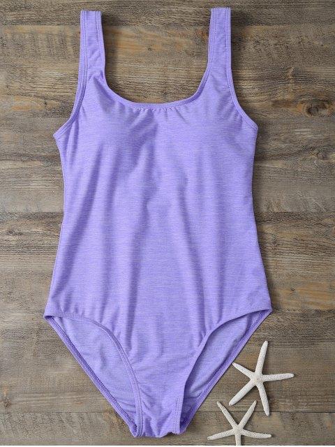 fashion Backless Straps Padded Swimwear - PURPLE L Mobile