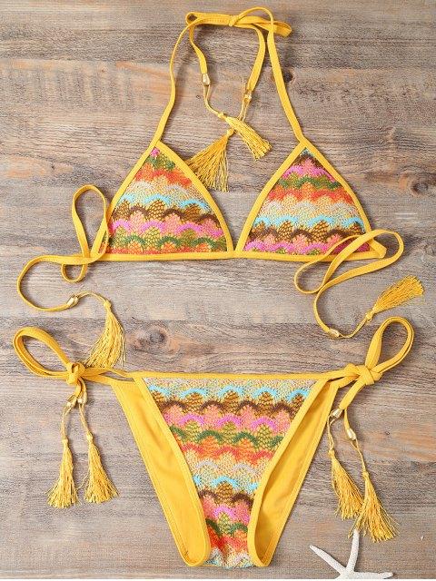 women's Halter Lace Patch String Bikini - YELLOW S Mobile