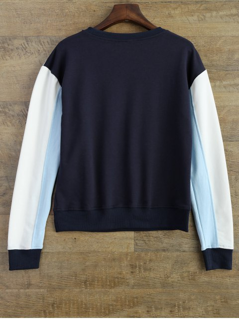 best Leisure Color Block Sweatshirt - BLUE S Mobile