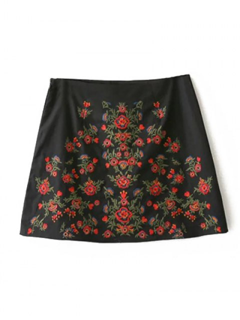 trendy Embroidered A-Line Skirt - BLACK L Mobile