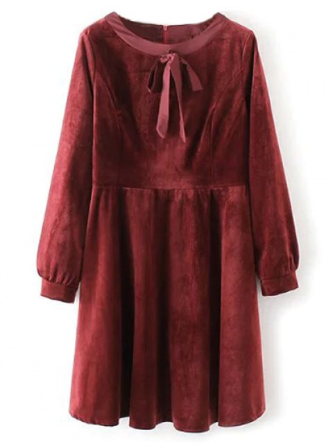 new Bowknot Round Neck Smock Dress - RED M Mobile