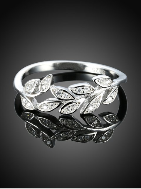 fashion Leaf S925 Diamond Ring - SILVER 8 Mobile