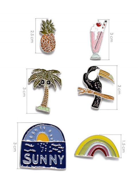 fashion Palm Tree Sunny Rainbow Brooch Set -   Mobile