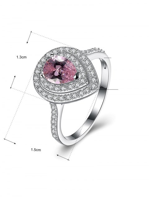 unique Teardrop S925 Fake Diamond Ring - PINK 8 Mobile