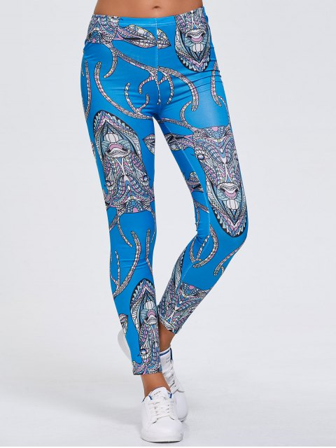 hot Slimming Abstract Animal Print Stretchy Leggings - BLUE XL Mobile