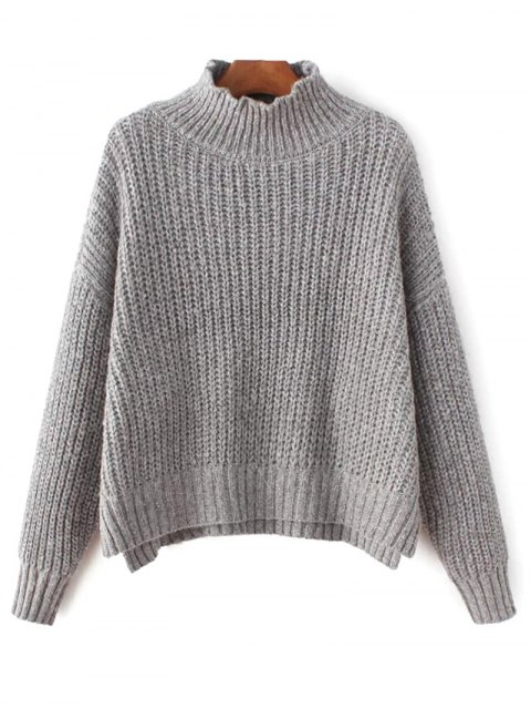 buy Chunky Mock Neck Sweater - GRAY ONE SIZE Mobile