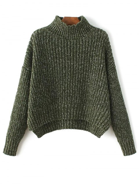 womens Chunky Mock Neck Sweater - ARMY GREEN ONE SIZE Mobile