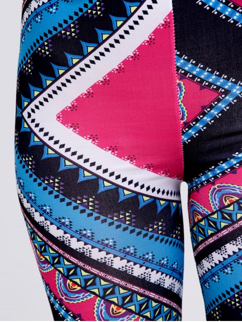 outfit Slimming Tribal Print Stretchy Leggings - ROSE RED XL Mobile
