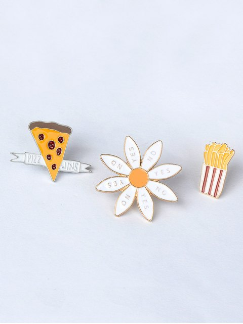 chic Floral Letter Cheese Cactus Brooch Set - GOLDEN  Mobile