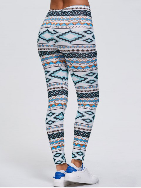 outfits Tribal Printed Stretchy Slimming Leggings - WHITE XL Mobile