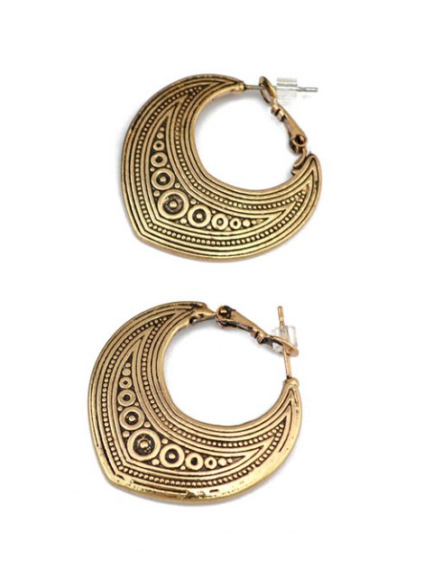 outfit Etched Moon Hoop Earrings - GOLDEN  Mobile
