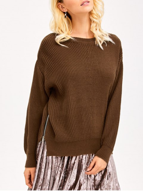 sale Zipper Design Chunky Sweater - BROWN ONE SIZE Mobile