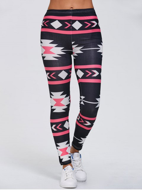 shop Stretchy Geometric Printed Gym Leggings - BLACK XL Mobile