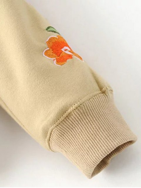 shop Floral Embroidered Big Pocket Hoodie - KHAKI M Mobile