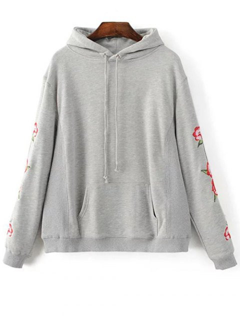 fashion Floral Embroidered Big Pocket Hoodie - GRAY S Mobile