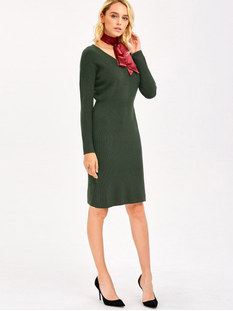 affordable Knitted High Waist Pencil Dress - ARMY GREEN ONE SIZE Mobile