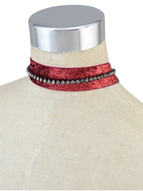 buy Rhinestoned Velvet Choker Necklace Set -   Mobile