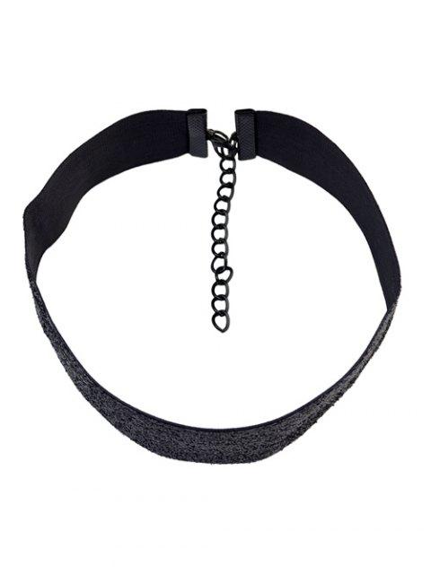 womens Rhinestoned Velvet Choker Necklace Set -   Mobile