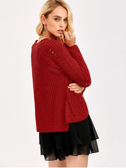 women's Loose Fitting Openwork Sweater - RED ONE SIZE Mobile