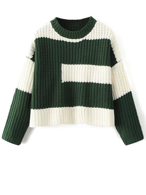 women's Color Block Mock Neck Jumper - GREEN ONE SIZE Mobile