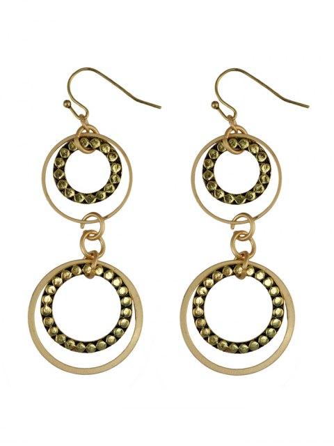 latest Rhinestone Circles Earrings - GOLDEN  Mobile