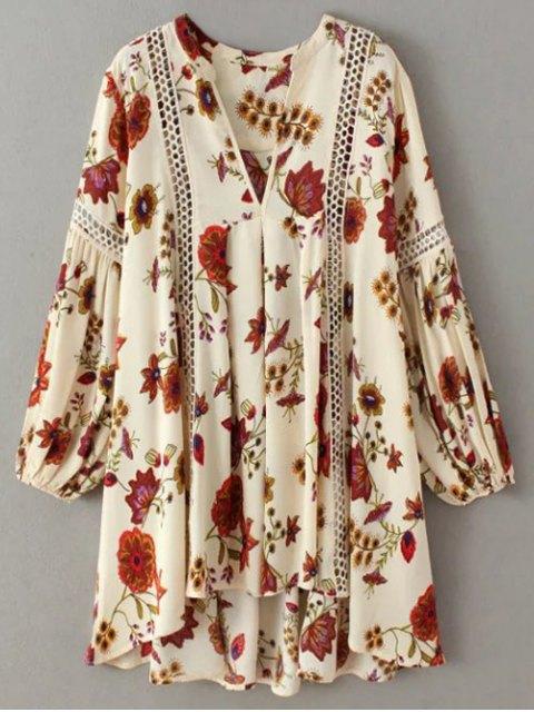 fancy Floral High-Low Mini Tunic Dress - BEIGE L Mobile