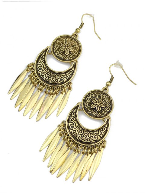 fancy Moon Etched Flower Earrings - BRONZED  Mobile