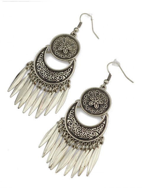 unique Moon Etched Flower Earrings - SILVER  Mobile
