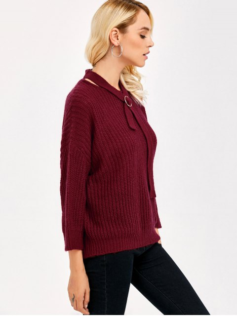 ladies Drop Shoulder Bow Tie Sweater - BURGUNDY ONE SIZE Mobile