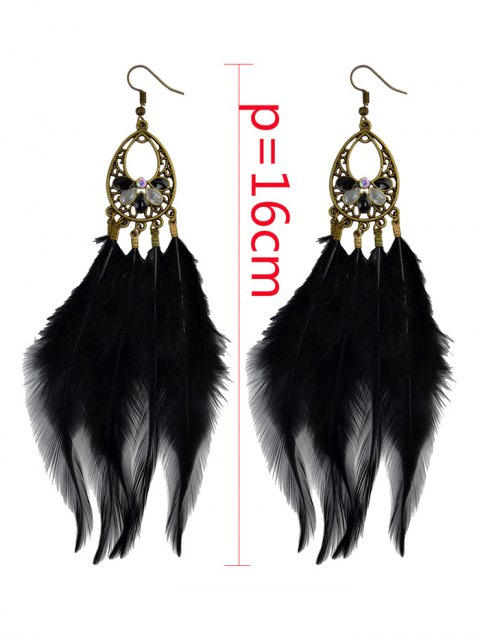 buy Bohemian Rhinestone Feather Teardrop Earrings -   Mobile