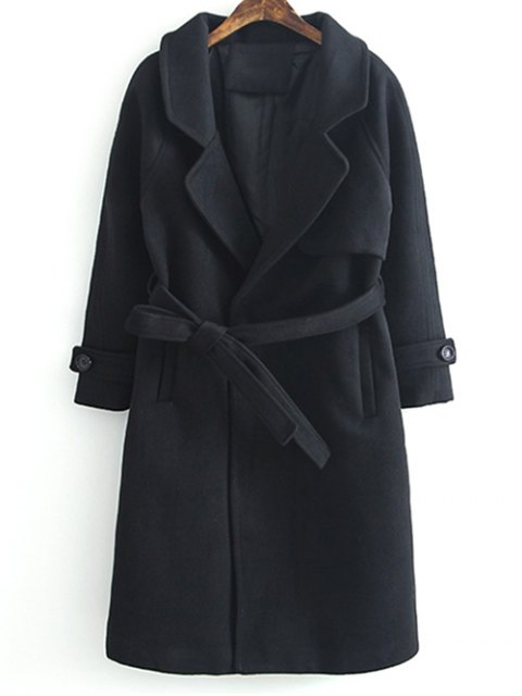 women Woolen Lapel Collar Belted Coat - BLACK L Mobile