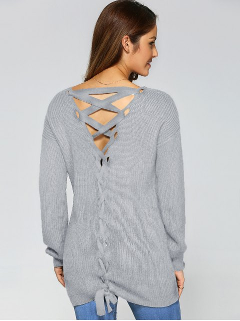 online Drop Shoulder Lace Up Sweater - GRAY M Mobile