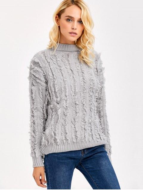 best Fringe Design Drop Shoulder Sweater - LIGHT GRAY ONE SIZE Mobile