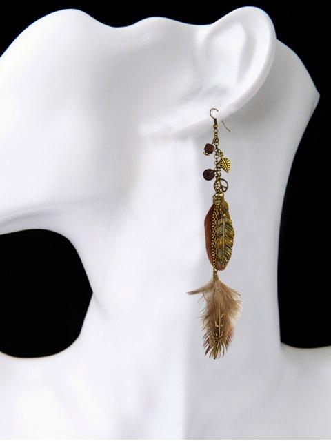 womens Peace Tree Leaf Feather Earrings -   Mobile
