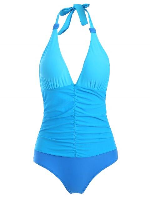 unique Ruched Color Block One-Piece Swimwear - BLUE M Mobile