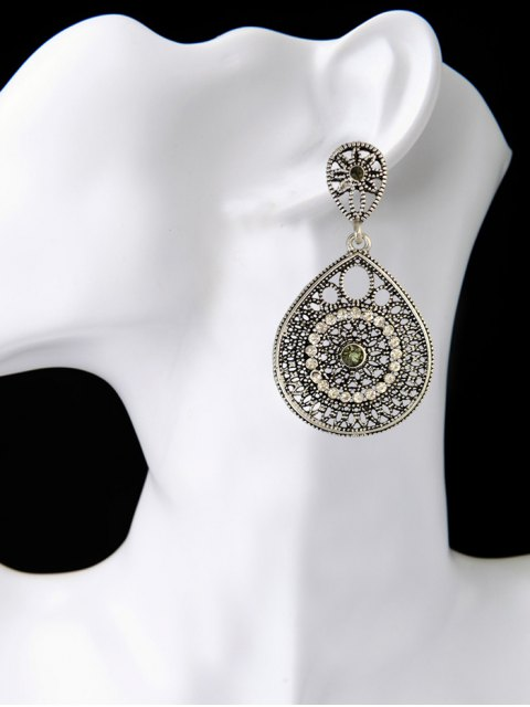 women Vintage Teardrop Rhinestone Earrings - SILVER  Mobile