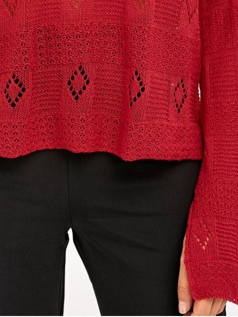 outfits Slit Cuff Hollow Out Knitwear - RED ONE SIZE Mobile