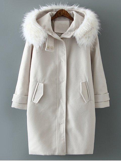 shop Fur Hooded Woolen Coat - OFF-WHITE S Mobile