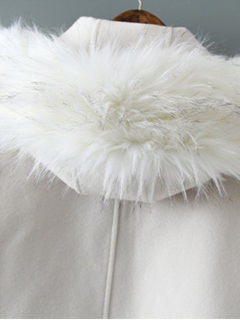 outfits Fur Hooded Woolen Coat - OFF-WHITE M Mobile