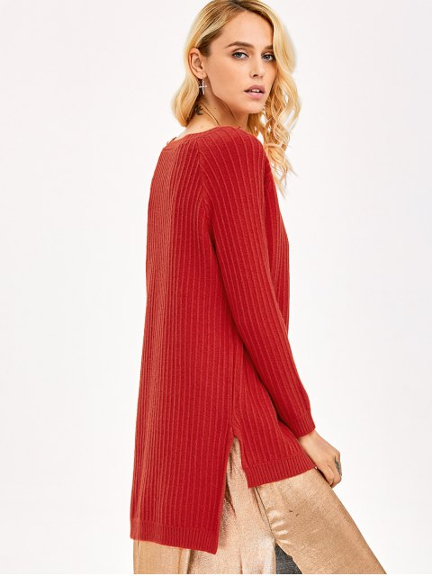 new High Low Side Slit Knitwear - RED ONE SIZE Mobile
