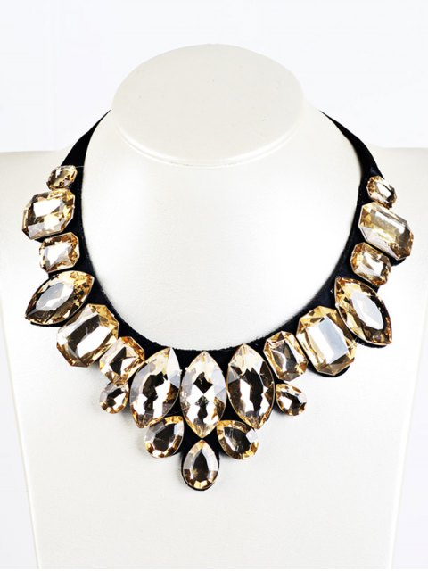 shop Geometry Faux Crystal Necklace - YELLOW  Mobile