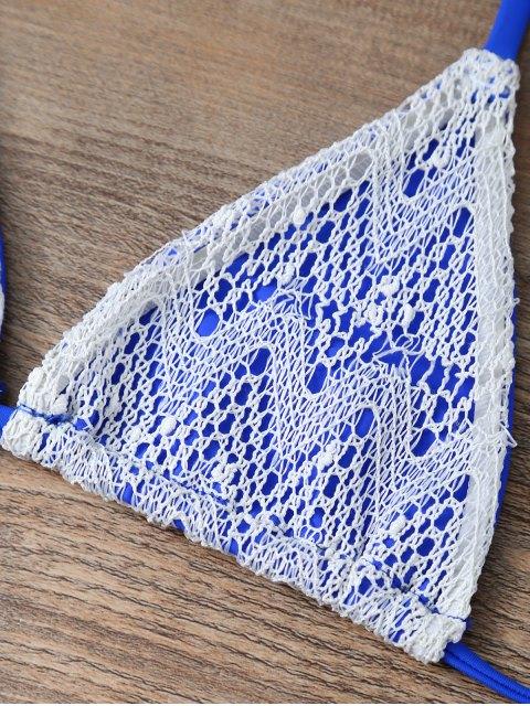 trendy Halter String Tassels Bikini Set - BLUE L Mobile