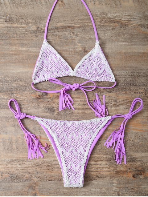 buy Halter String Tassels Bikini Set - PURPLE M Mobile