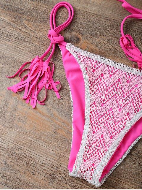 women's Halter String Tassels Bikini Set - ROSE RED M Mobile