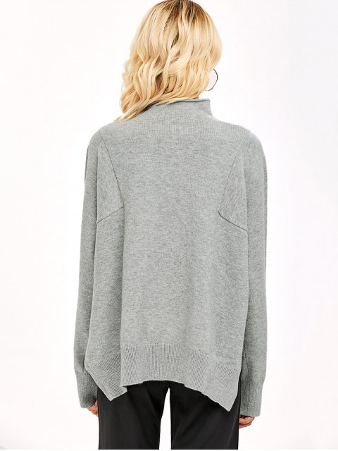 hot High Low Mock Neck Knitwear - LIGHT GRAY ONE SIZE Mobile